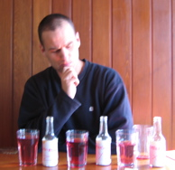 Dean examining the syrups