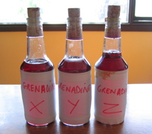 Three bottles of Grenadine